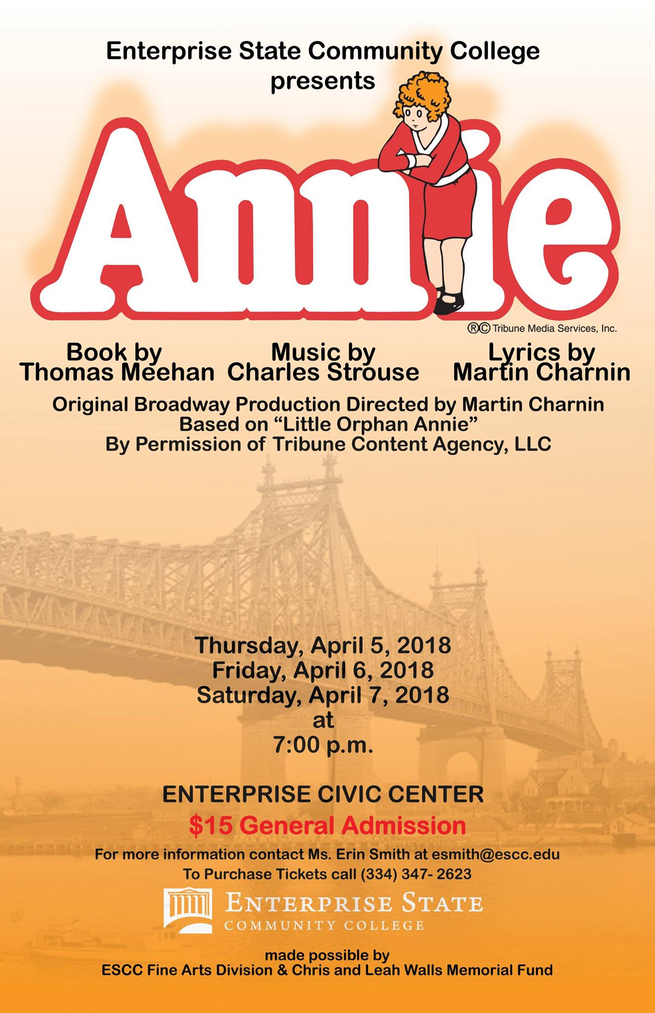 ESCC Fine Arts Division will bring the entertaining and lovable musical, Annie, to life in April