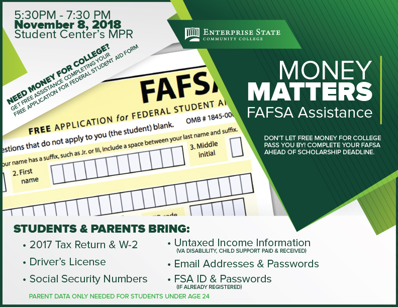 ESCC to host FAFSA Assistance Night for Students, Families